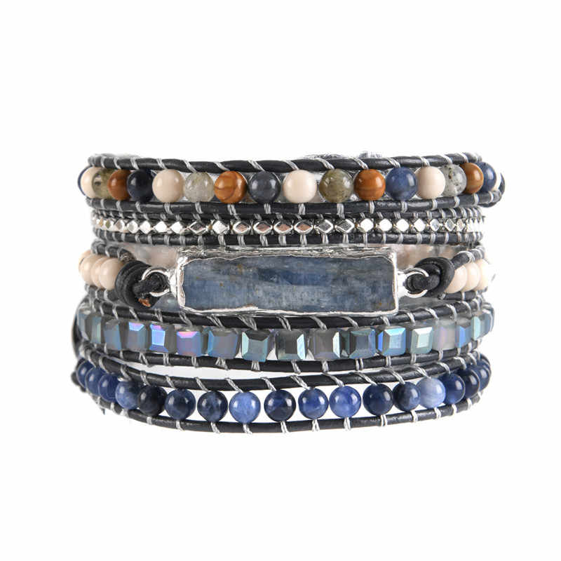 5 Layers Natural stone Leather Bracelet Exquisite Mix Stones Women Fashion Wrap Bracelet Boho Bracelet Jewelry Dropshipping