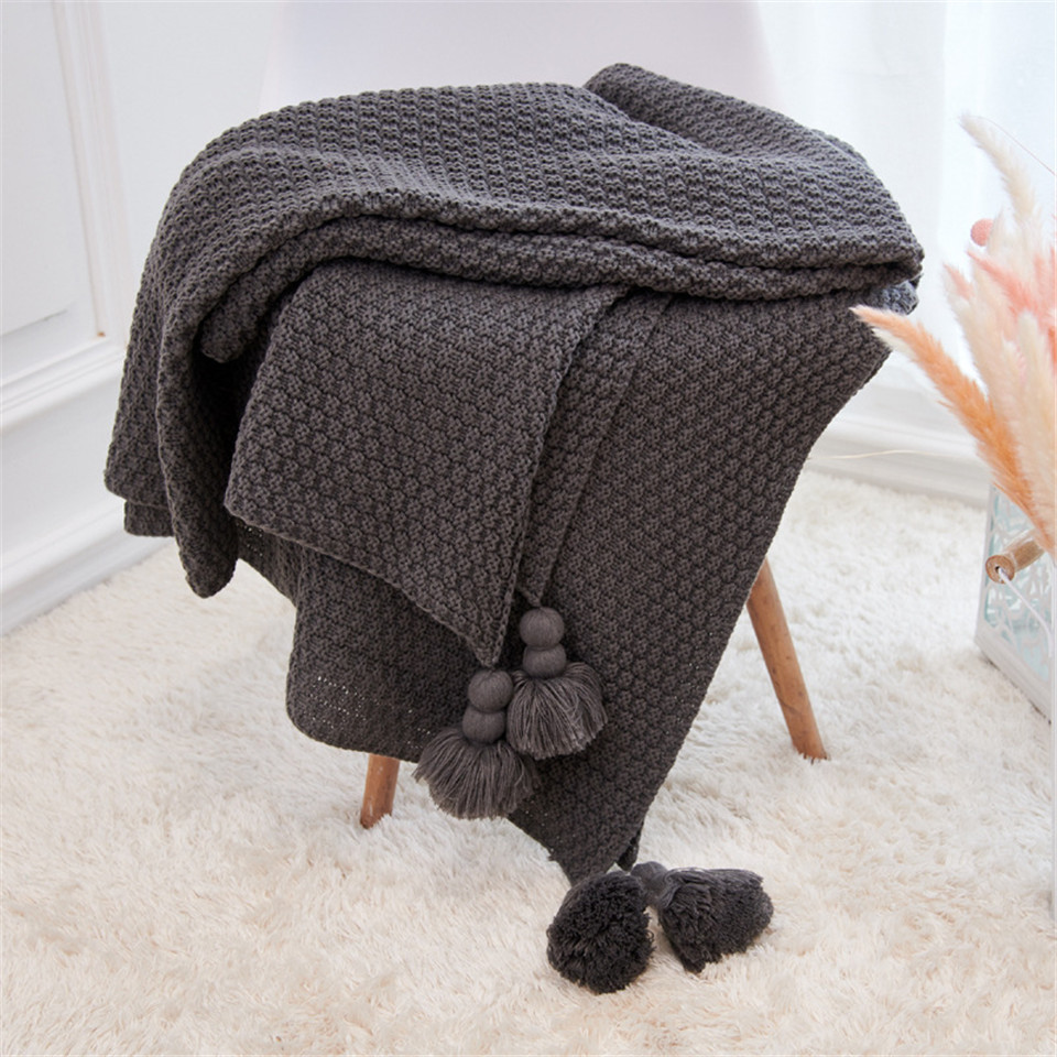 Cilected Nordic Knitted Blanket With Ball Fringe Winter Sofa Cover Throw Blanket For Beds Child Baby Blanket Newborn 130X170Cm