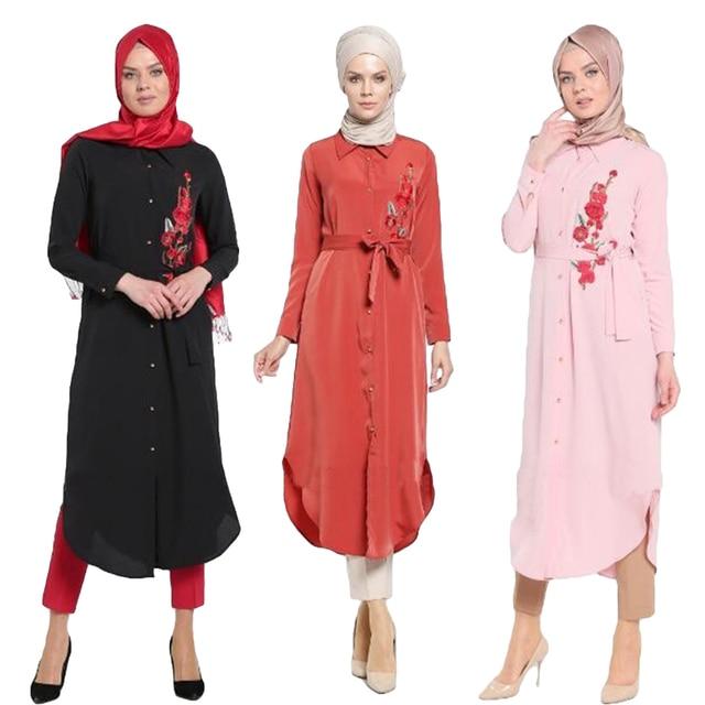 be1424b0098 2017 New Women Muslim Blouse Dress Islamic Abaya Shirt Arab Vintage Elegant  Linen Cotton Maxi Clothing Arab