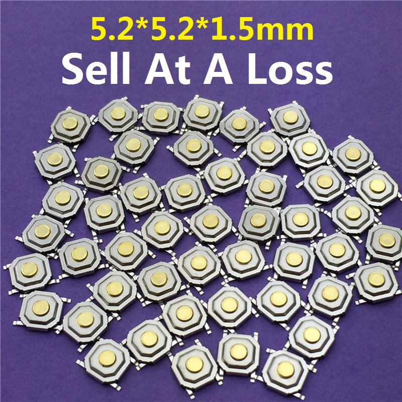 50pcs/lot 5.2*5.2*1.5mm 4 PIN SMT G66 Metal Tactile Push Button Switch Tact Switch Great Quality Free Shipping