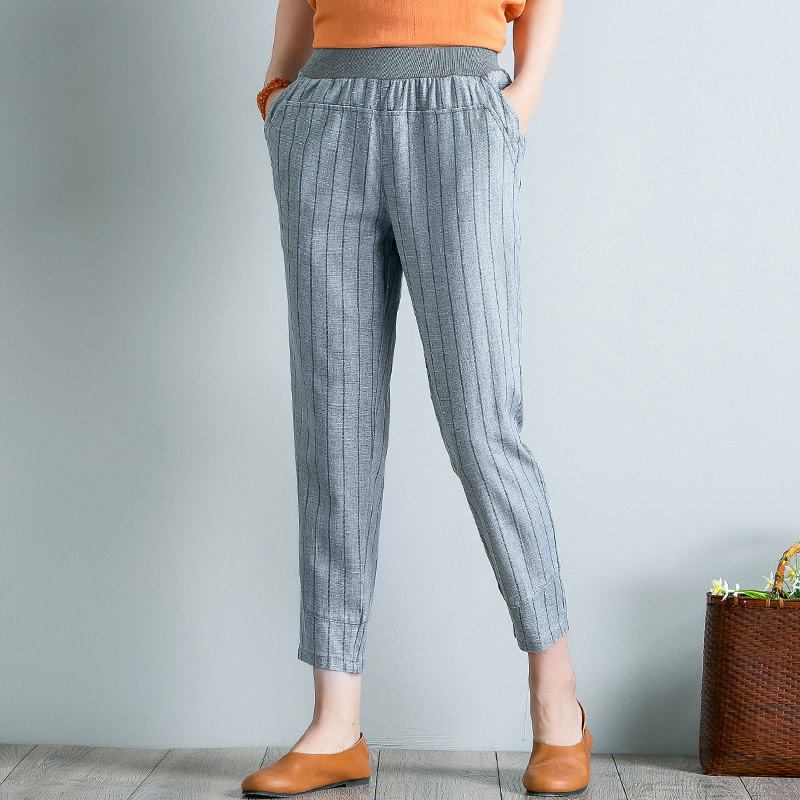 Spring Summer Women Striped Elastic Waist Pants Plus Size 4XL High Waist Casual Harem Pants Ankle-length Boho Trousers Pockets Price $27.00
