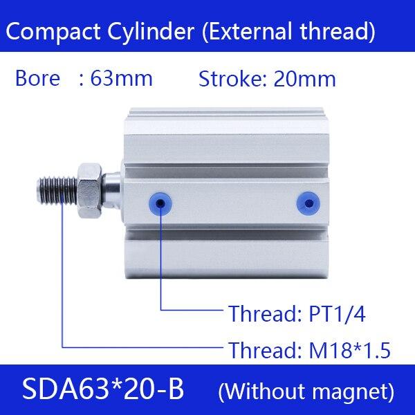 SDA63 * 20-B, 63mm alésage 20mm course filetage externe vérins pneumatiques compacts double Action vérin pneumatique