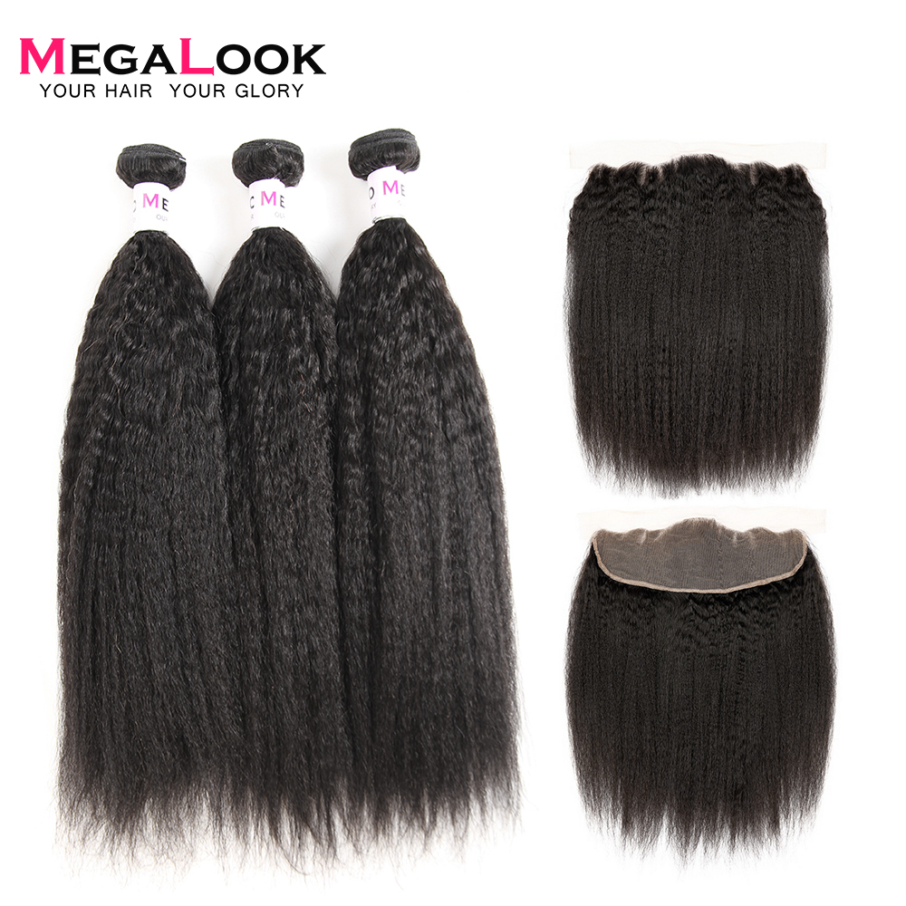 Megalook Yaki Human Hair With Frontal Indian Lace Front With Remy Human Hair Bundles Natural Color