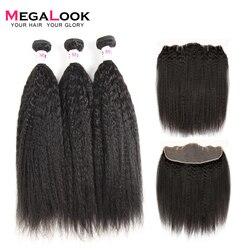 Megalook Yaki Menschliches Haar mit Frontal Indische Spitze Vorne mit Remy Menschliches Haar Bundles Natürliche Farbe