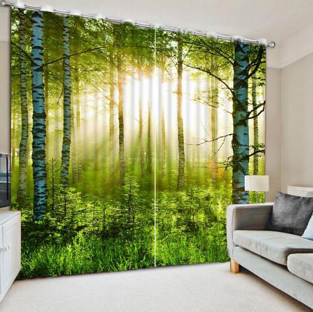 2017 nuevo estilo 3d cortina de moda sol bosque paisajes - Cortinas para el sol ...