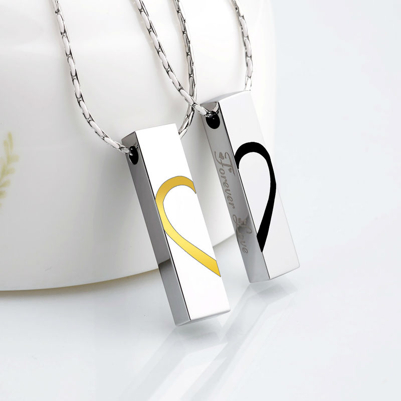 2016 New Arrival Couples Jewelry Tungsten Pendants Necklace 50cm Length Black/Gold Two Colors with Engrave Fover Love2016 New Arrival Couples Jewelry Tungsten Pendants Necklace 50cm Length Black/Gold Two Colors with Engrave Fover Love