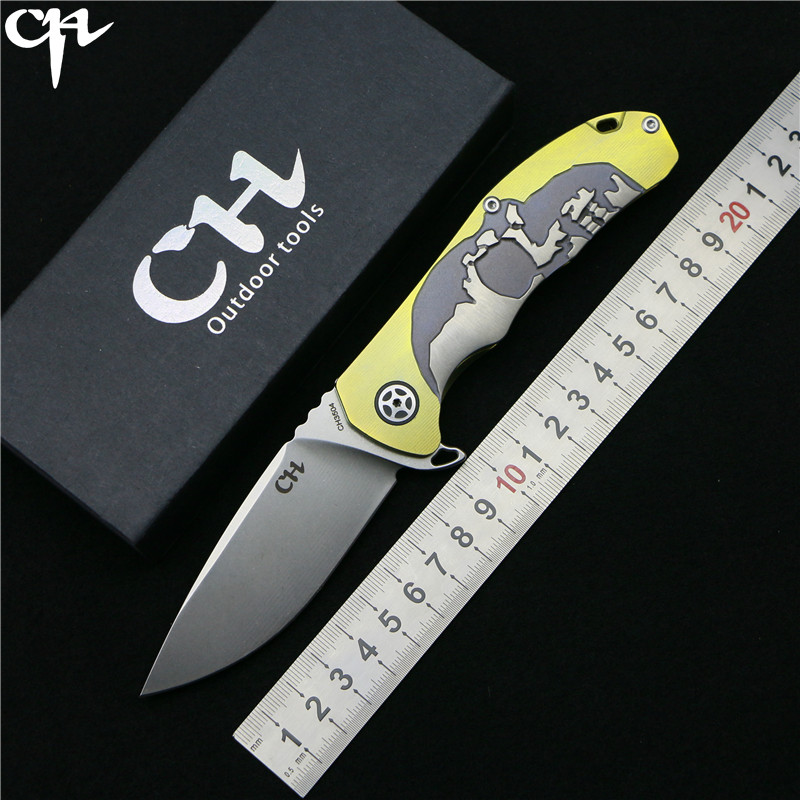 CH3504 Flipper folding knife S35VN blade ball bearing TC4 titanium Skull pattern handle hunting camping fruit Knives EDC tools tactical knife ch 3504 folding knife s35vn blade top ball bearing washer tc4 titanium handle outdoors hunting survival knives