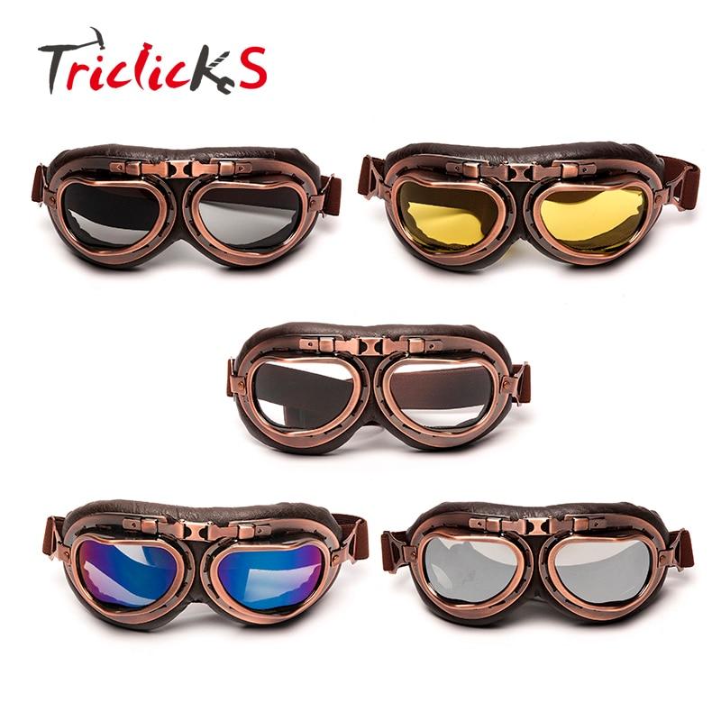 Triclicks Helm Steampunk Kupfer Gläser Motorrad Fliegen Brille Vintage Pilotenbrille Biker Brillen Schutzbrille Getriebe Gläser