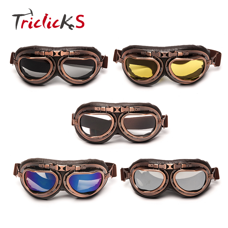 Triclicks Helmet Steampunk Copper Glasses Motorcycle Flying Goggles Vintage Pilot Biker Eyewear Goggles Protective Gear Glasses