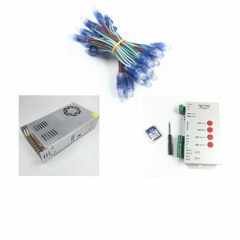 1000 pièces WS2811 led Pixel Modules CC 5 V 12mm IP68 RVB diffus adressable + T1000S Contrôleur + 5 V 70A adaptateur secteur source
