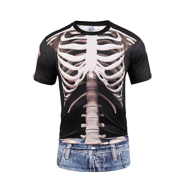 Fake Vest Tattoo Men T Shirts 3D T Shirt Skull Short Sleeve Hip Hop Fashion Tee Shirt Homme Slim Fit Halloween Cosplay T-shirt 5