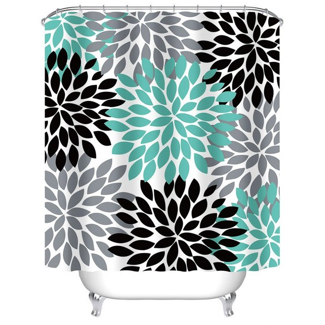 Memory Home Multicolor Dahlia Flower Customized Bathroom Shower Curtain Waterproof Polyester Fabric Bath Teal Black Grey
