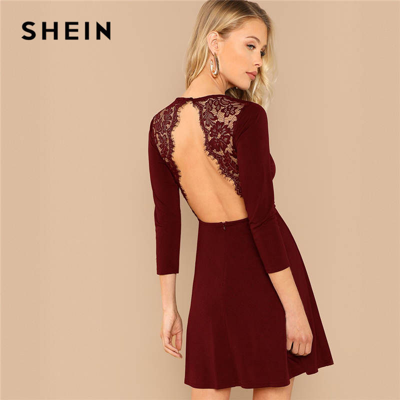 1a0964d4ad17 SHEIN Burgundy Party Solid Backless Lace Contrast Round Neck Long Sleeve  Sexy Dress Autumn Elegant Club