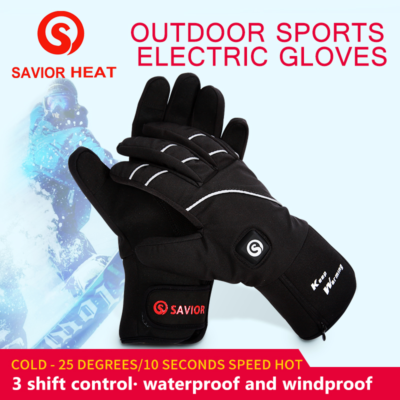 SAVIOR S 21 Warm Safe Waterproof and Breathable Outdoors Skiing Hiking Moutain Cycling Electric Heating Gloves