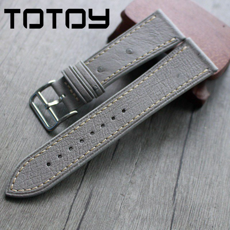 TOTOY Elephant Gray Leather Strap, 22MM 24MM Soft Ostrich Leather Strap, Retro Men's Strap, Fast Delivery