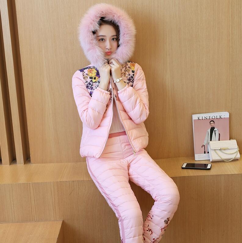New Winter Jacket Pants Women Suit down cotton Coat Parka With Fur Hoodie Print 2 Piece Set Tracksuit a2156
