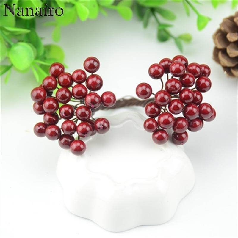25pcs/50 Heads 0.7cm Mini Fake Fruit Small Double Heads Berries Artificial Flower Cherry  Stamen Wedding Christmas Decorative