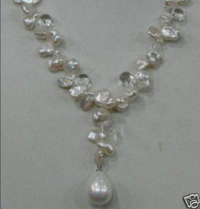 Dd naturel du sud mer blanche collier de perles + shell pendentif WW