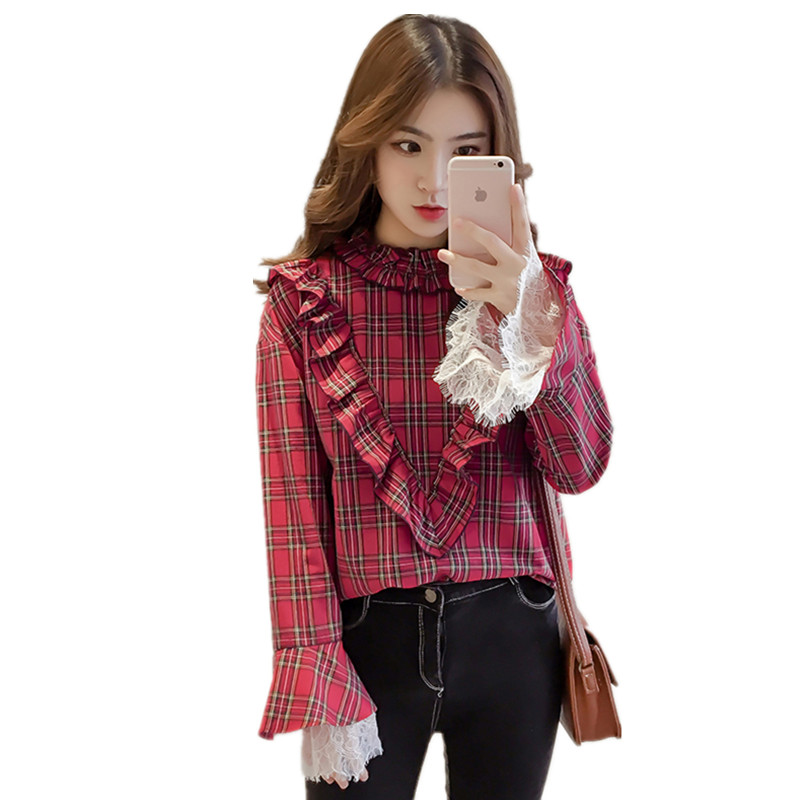 New Spring Vintage Women Shirts Ruffles Flare Plaid Full Sleeve Stand Neck Blouse Shirt Red Yellow 0583