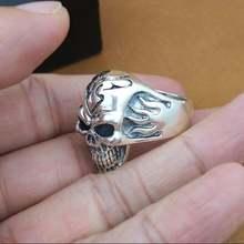 100% Серебро 925 пробы кольцо с огненным черепом Настоящее серебро