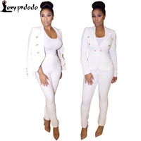 Autumn 2 Piece Set Women White Black Longb Pants Suit Women Single Button Office Suit Womens