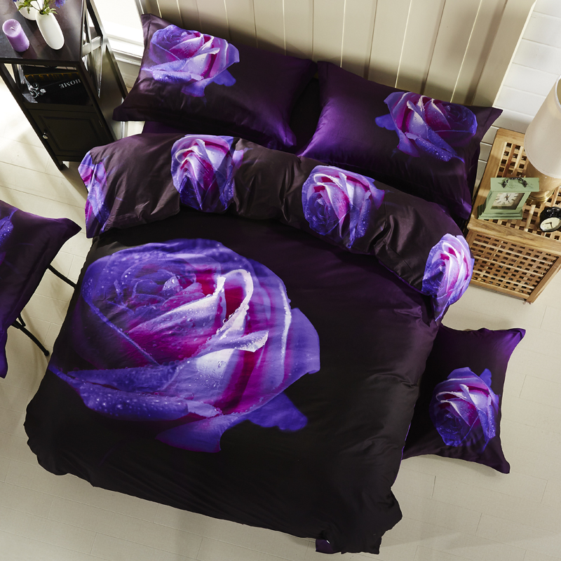 3D Flower Rose Dark Purple Bedding Set High Quality Cotton Floral Print Duvet Cover Set Pillowcase Bed Sheets for Queen Size Bed3D Flower Rose Dark Purple Bedding Set High Quality Cotton Floral Print Duvet Cover Set Pillowcase Bed Sheets for Queen Size Bed