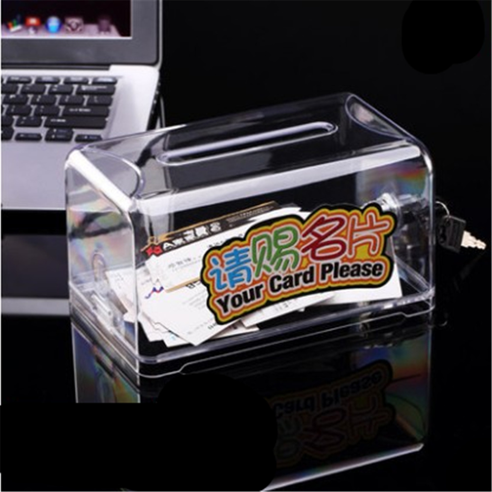 High capacity Exhibition hall Business Card Holder Ballot Box Suggestion Box With Stickers