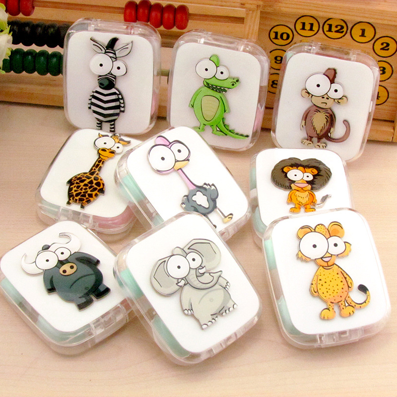 Friendly Liusventina Diy Acrylic Cute Ostrich Monkey Lion Ox Contact Lens Case With Mirror Box Container For Contact Lens Random Pattern Smoothing Circulation And Stopping Pains Apparel Accessories