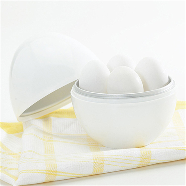 White Ball Shape Microwave 4-6 Eggs Cooker 4