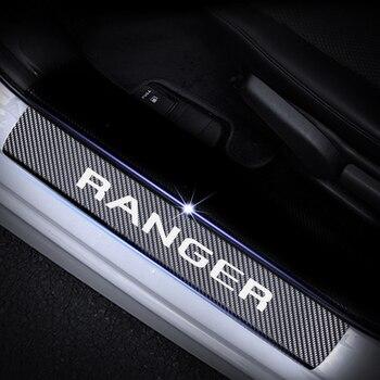 สำหรับ Ford Ranger ประตู Sill คาร์บอนไฟเบอร์สติกเกอร์ประตูยามประตู Sill Scuff แผ่นสติกเกอร์อุปกรณ์เสริม 4 pcs