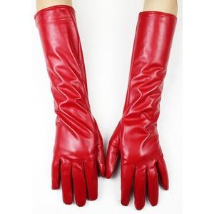 Image 2 - Eldiven Guantes 2019 nowy 38cm długo pani skórzane rękawiczki przycisk styl prosto z owczej skóry aksamitna wyściółka ciepłe jesienne i zimowe