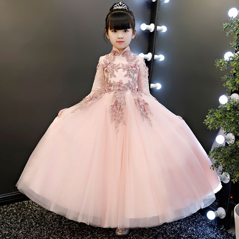 Spring Flowers Girl Lace Dress Ball gowns Kids Baby Costume Wedding Dresses Girl Clothes For 3