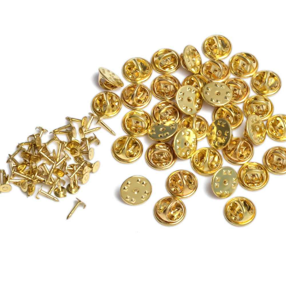 100 Uds color rodio oro clavos de cobre corbata solapa Pin Back embrague Scatter mariposa broche Squeeze Badge Holder DIY joyería