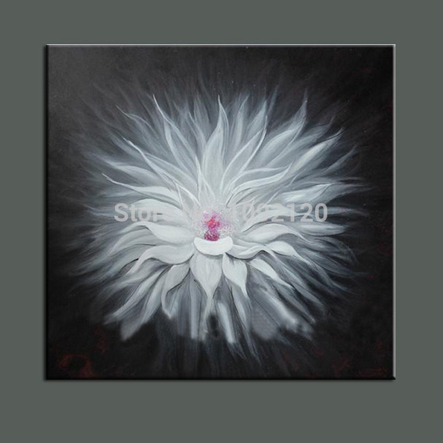 Handmade blooming white feather flower canvas abstract oil painting handmade blooming white feather flower canvas abstract oil painting decorative art home decor hang painting on mightylinksfo