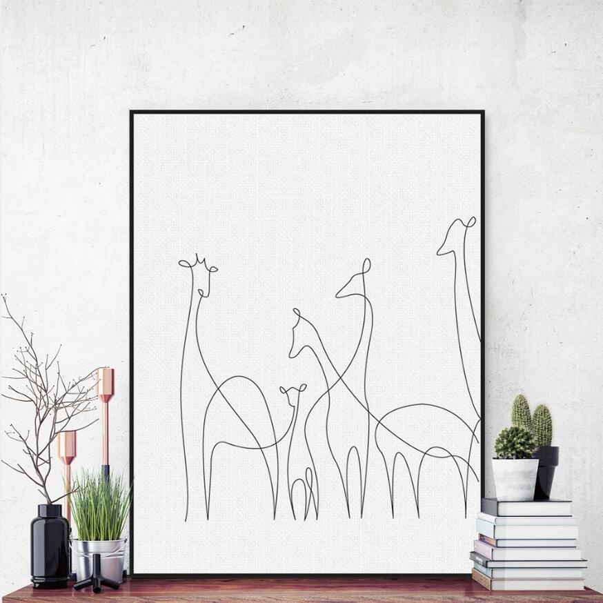 Modern Picasso Black White Lines Canvas A4 Art Print