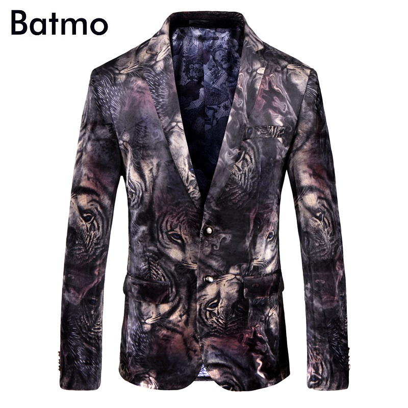 Batmo 2018 New Arrival High Quality Printed Tiger Casual Blazers Men,men's Casual Suits,printed Men's Jackets Plus-size 9003