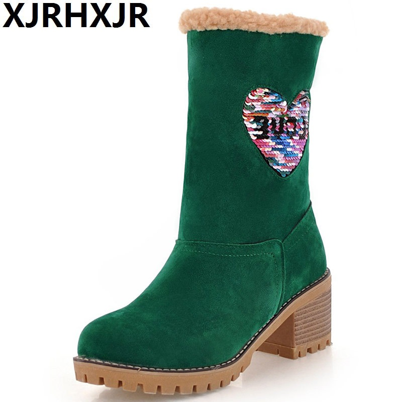 Woman Mid Calf Boots 2018 New Woman Thick Bottom Platform Shoes Woman Boots High Heel Woman Warm Plush Motorcycle Snow Boots spring autumn women thick high heel mid calf boots platform woman short boots high heels shoes botas plus size 34 40 41 42 43