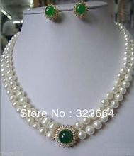 Hot Sell!  Noblest Pearl necklace green A earring set