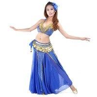 Women Belly Dance Costume Chiffon Indian dance performance suit dancing skirt 3pcs(Top skirt belt )dance wear