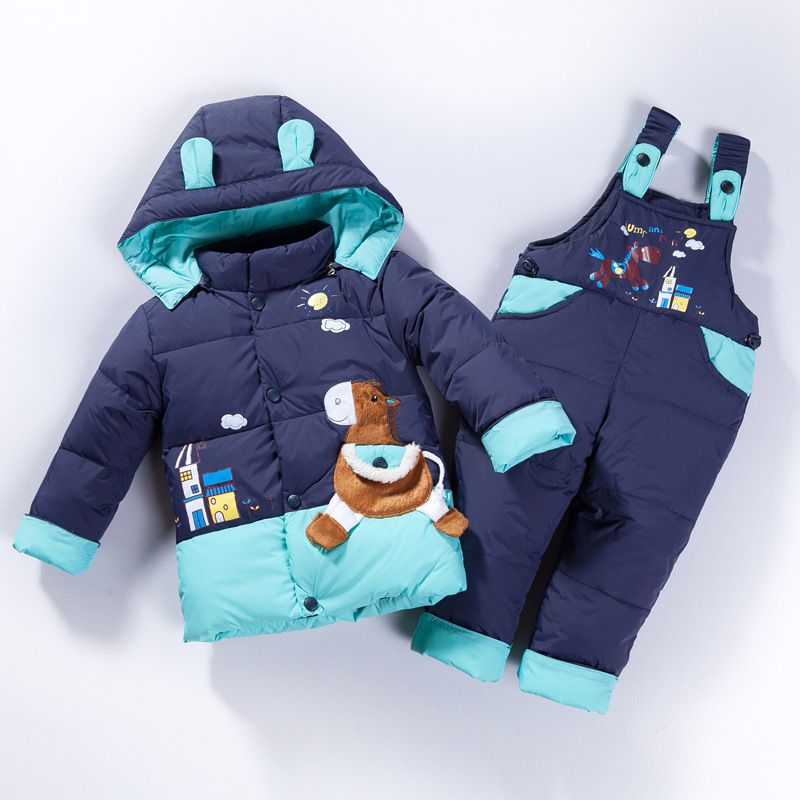 Cartoon Children Winter Clothing Set Boys Girls Winter Warm Down Jacket Suit Set Thick Coat+jumpsuit Baby Clothes Set Kids new free shipping 2015 winter coat baby clothing set children boys girls warm down thicken jacket suit set baby coat