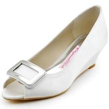 Neue Design WP1401 Elegante Weiße Peep Toe 2 «Keil Ferse Quadratischer Schnalle Satin Hochzeit Frauen Abendgesellschaft Schuhe