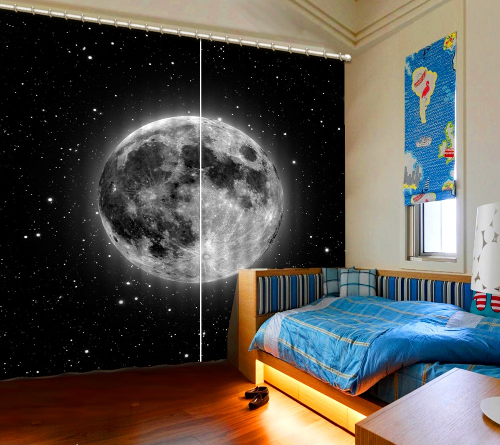 Curtain Custom Any Size Home Bedroom Space Planet, Stars 3D Curtain Bed Room Living Room Office Hotel Cortinas