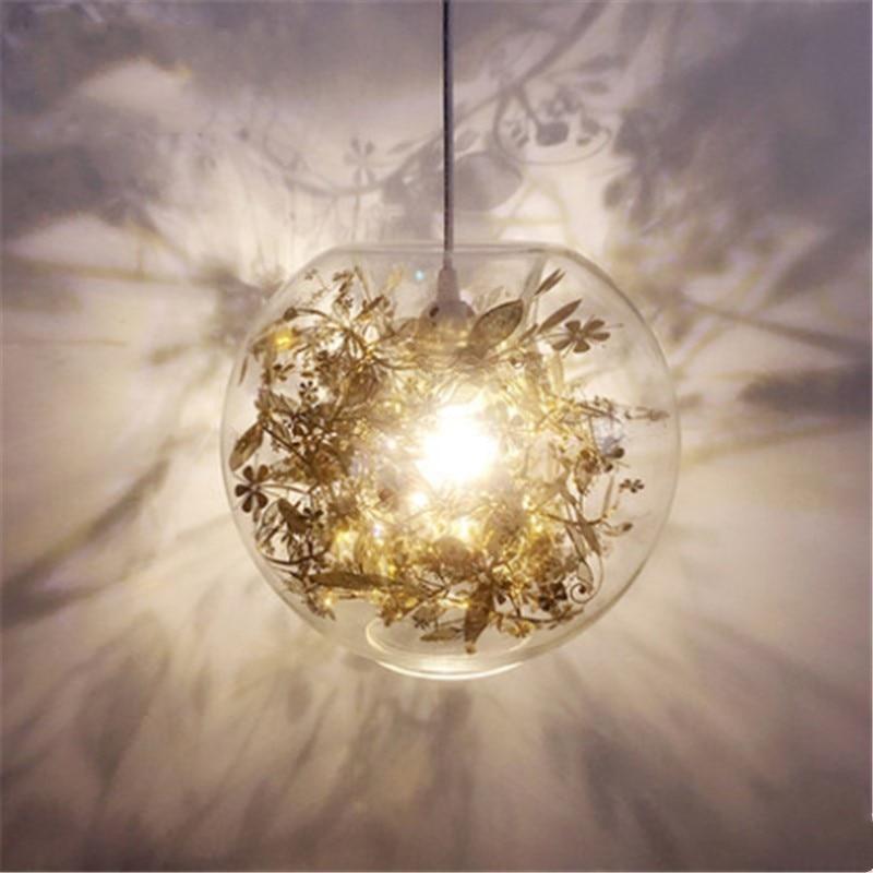 Modern Loft Romantic Glass Pendant light Concise Flower Dining Living Room Hanging Light Bar Bedroom Led Light Free Shipping