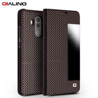 QIALINO For Huawei Mate 10 Pro Case Grid Texture Genuine Leather View Window Smart Flip Case