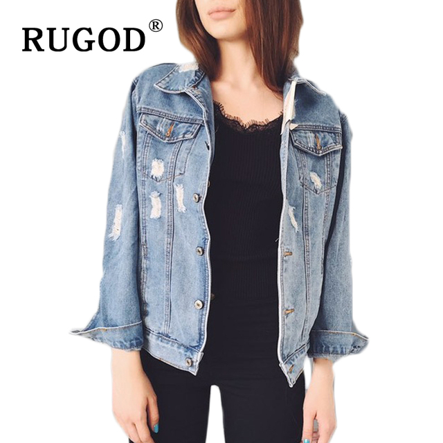 cd0b3f45f9c RUGOD 2018 Women Basic Coat Denim Jacket Women Spring Denim Jacket For Women  Holes Button Jeans Jacket Women Denim Coat