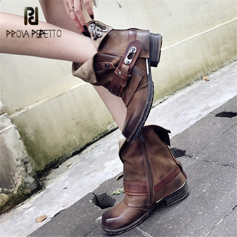 Prova Perfetto Brown Ankle Boots for Women Metal Decor Flat Autumn Botas Mujer Genuine Leather Platform Rubber Martin Boots prova perfetto black ankle boots for women rivets studded flat autumn botas mujer genuine leather platform rubber martin boots