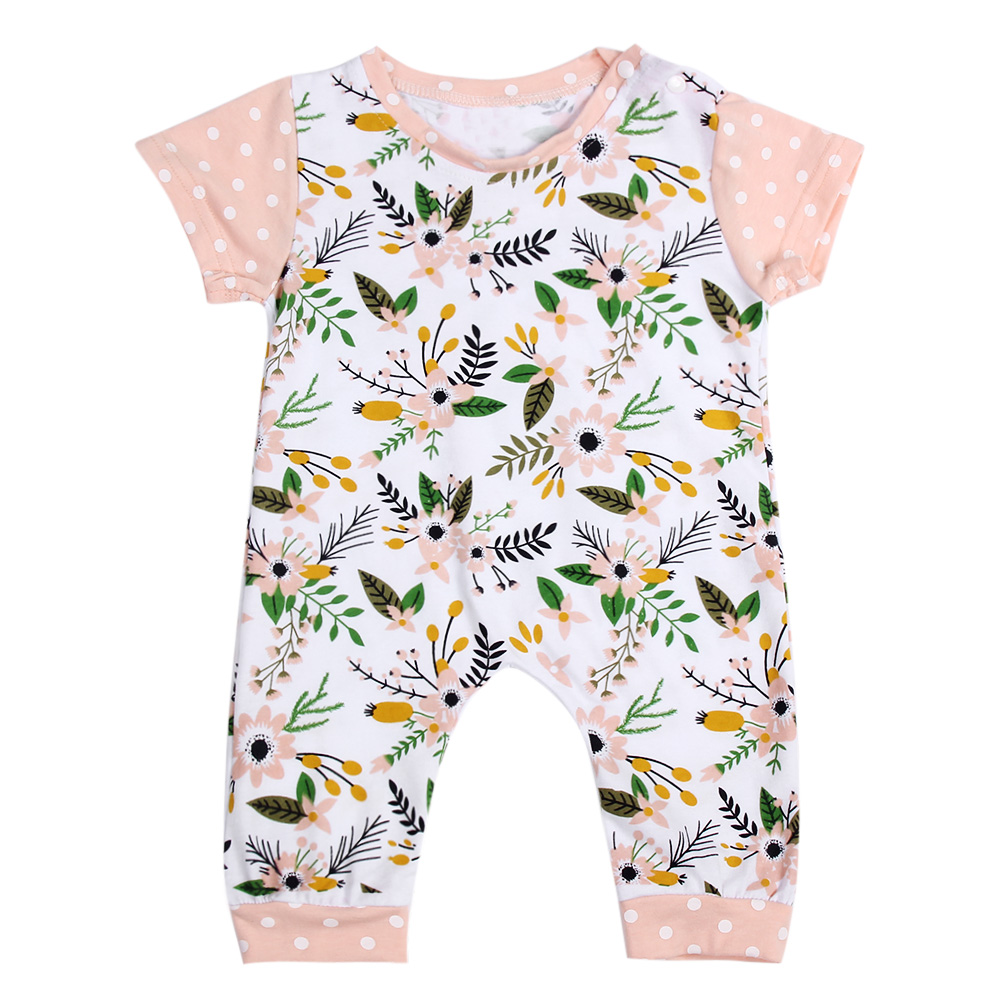 Newborn Kids Toddler Baby Romper Boy Short Sleeve Romper Floral Printing Jumpsuit Playsuit Baby Clothing