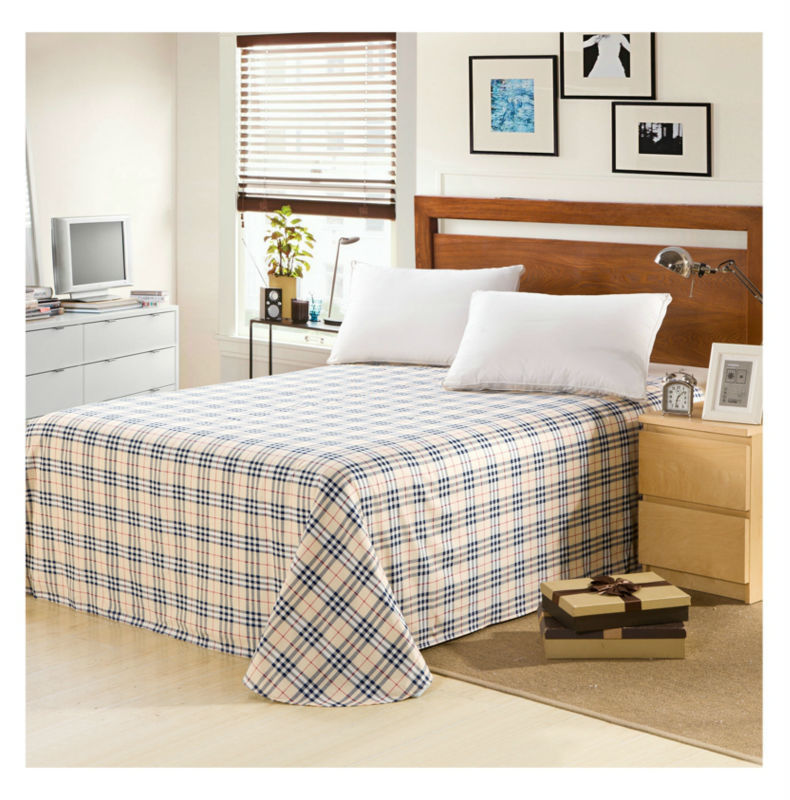 bed sheet flat sheet 100 cotton sheets for home full queen king size bedsheet plaid flowers. Black Bedroom Furniture Sets. Home Design Ideas