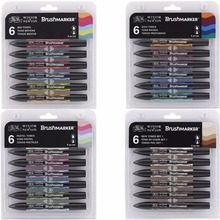 Winsor & Newton Brushmarker Set 6 Colors 12 Colors Soft Brush Tip Twin Tip Brush Markers Alcohol Based Art Pens