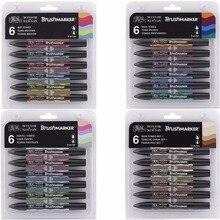 Xã Winsor & Newton Brushmarker Bộ 6 Màu 12 Màu Sắc Bàn Chải Mềm Đầu Hai Đầu Bàn Chải Đánh Dấu Rượu Dựa Nghệ Thuật Bút